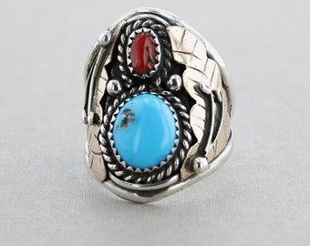 Handmade NAVAJO Native American Sterling Silver Turquoise Coral Ring - Size 10.5
