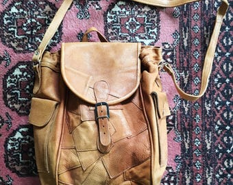 Not my First Rodeo 1980s Patchwork Leather Crossbody Messenger Bag