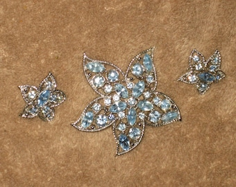STARFIRE***Sarah Conventry Brooch and Earring Set, Blue Rhinestones, Mint Condition, Silver, Blue Starfish, Clip On Earrings, Matching Set