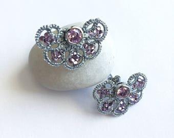 Sterling Silver Stud Earrings, Pink Studs, Tatting earrings, Tatted jewelry, Silver Studs, Post Earrings, Minimal Studs,  Dainty Earrings