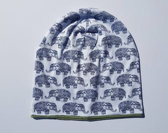 Beanie with elephants / Adult's slouchy hat / Knit hat / Cotton beanie
