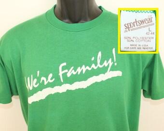 We're Family EWTN Catholic Cable Network vintage t-shirt Short L green 80s Sportswear