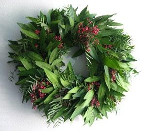 Fresh Bayleaf & Pepperberry Wreath