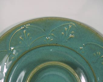 Green Chip and Dip, Elegant  Serving Plate, Veggie Plate , Turquoise, Made in USA,  Handmade Pottery