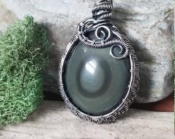 Silver rainbow obsidian pendant, wire wrap, wire wrapped pendant, wire wrapped jewelry, handmade, unique jewelry
