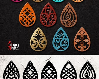 10 Leather / Wood Earring Templates Vector Digital SVG DXF Jewelry Cut Files Download Laser Die Cutting Cricut Silhouette JB-1048