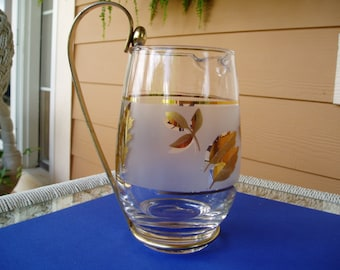 Libbey Glass 22k Gold Leaf Frosted Pitcher