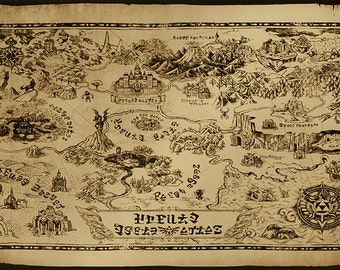 Hyrule map etsy zelda hyrule map art print poster gumiabroncs Images