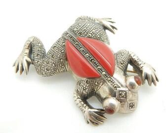 Solid Vintage Sterling Silver/925 Marcasite, Red Chalcedony & Garnet Frog Pin/Brooch; sku # 2631
