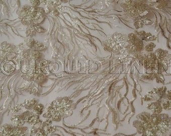 Marigold Sequins in Champagne - Stunning Lace Fabric w/ a Beautiful Sequined Embroidery Throughout - Perfect For Weddings and Special Events