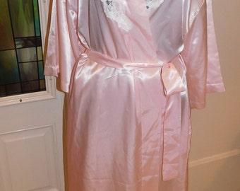 Vintage Pastel Pink White Sara Beth Nightgown Robe