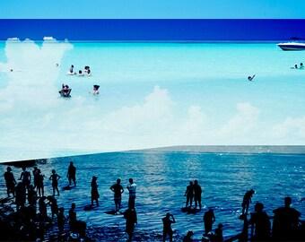 Abstract Art Photography / / «Le monde ci-dessous» / / plage photographie / / Dark Blue Print Marine / / Beach en Californie les gens / / plage Collage IV