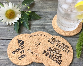 Science Humor Themed Cork Coaster Set of 4