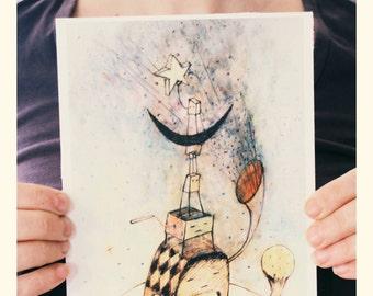 PRINT. Ilustracion. Impresión digital. Arte.Dibujo. Niños. Decoración habitación. Hogar. Infantil. Ciencia