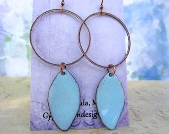 Enamel jewelry Hoop with drop earrings Geometric earrings Robins egg blue earrings