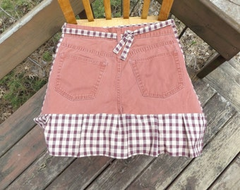 Sale - Denim Apron with Pockets and Ruffle, Craft Apron, Cooking Apron, Art Apron, Red Plaid - Upcycled