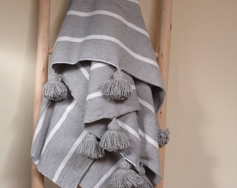 Moroccan pom pom blankets with tassels throw blankets, striped bed blankets,cover bed, cotton blankets,handmade blanket,white gray blanket