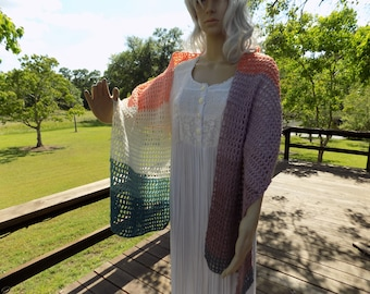 Hand Crocheted Open Grid SHAWL or SCARF Pegasus Teal Lavender Cream Grey Mauve Coral
