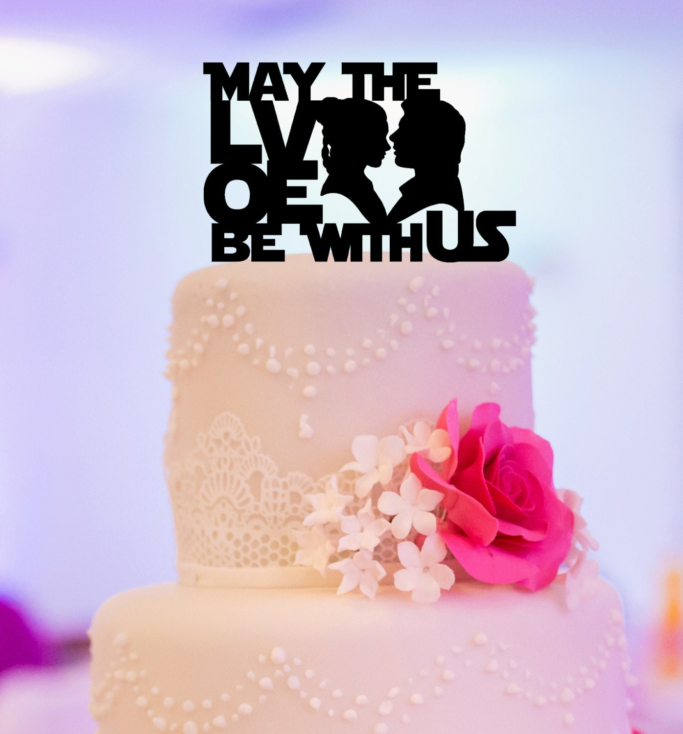 Star wars inspired wedding cake topper may the love be with zoom junglespirit Gallery