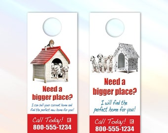 Dalmatians - Real Estate Door Hanger - 3.5x8.5 - Door Handle Real Estate Marketing Flyer - Color Front Only - Customization Available