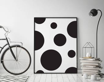 Abstract geometric poster Large polka dots print Black and white Vertical wall art Minimalist art print Instant download