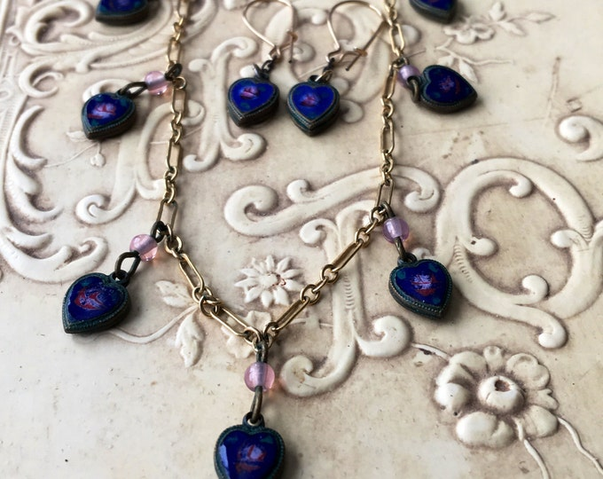 Vintage Lucy Isaacs NYC Charm Necklace & Earrings Set