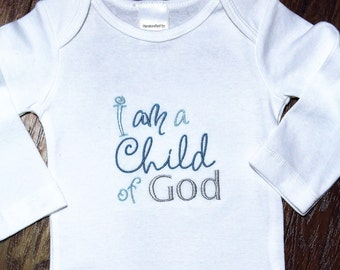 I am a child of God, LDS, blessing, baptism, christening, dedication, religious, bodysuit, baby boy gift, baby boy clothes, clearance sale