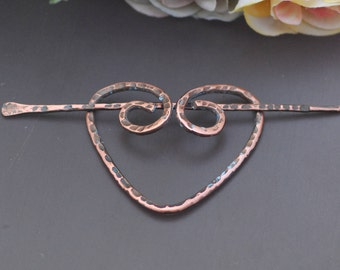 Heart pin brooch copper Copper shawl pin Hair pin Scarf pin Hair slide Gifts for knitters Wire wrapped Celtic accessories Hair barrette
