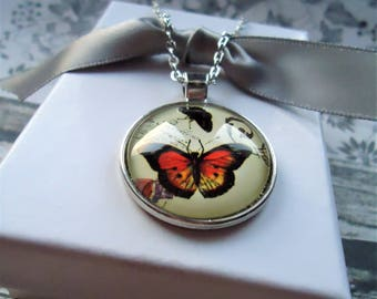 Orange Butterfly Silver Key-chain or Necklace | Orange, Yellow, Insects, Good Luck, I Love Butterflies, Butterfly Gift