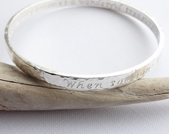 Handcrafted Double Sided Silver Personalised Bangle - Lyrics - Phrase - Names - Dates - Secret Message