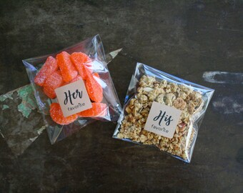 His and Her Favorite wedding favors, 12 His & 12 Hers, wedding favor, welcome bag, favor stickers, Matte white or Kraft brown, favor bags