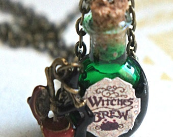 Witch's Brew necklace-Potion necklace, halloween necklace