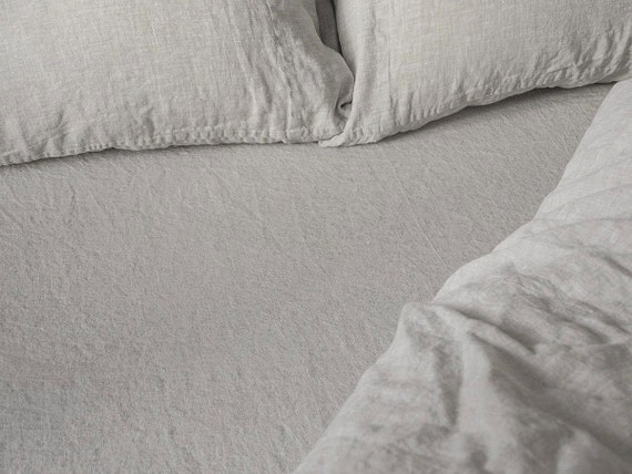 Exceptionnel Linen Fitted Sheet Stone Washed Super Soft Seamless Full Queen
