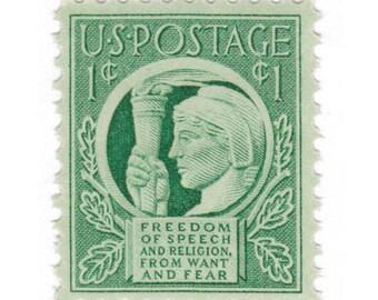 10 Unused Vintage Postage Stamps - 1943 1c Four Freedoms - Item No. 908