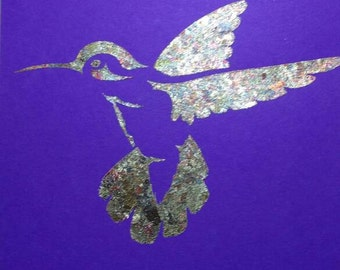 Gilded hummingbird card *birthday card *thank you *keepsake handmade