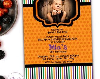Halloween Birthday Invitation, Kids Halloween Party Invitations, Printable Halloween Costume Party Invitation, Halloween Invitation Kids,