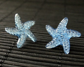 Blue Starfish Earrings with Silver Post Earrings Back. Handmade Jewelry.