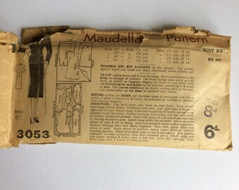 Vintage 40s Maudella Sewing Pattern 3053 Bust 38 inches Hip 42 inches - Vintage Skirt Suit Sewing Pattern - 1940s Suit