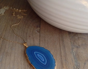 Gift for Her - Blue Agate Slice Necklace - Statement Necklace - Gold - Gift for Her - Gold Necklace - Blue Necklace - Girlfriend Gift