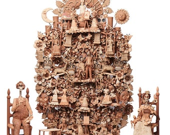 Arbol Frida Kahlo y Diego Rivera / Ceramics Mexican Folk Art Clay Tree of Life