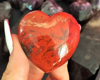 Mothers Day Gift Ideas, Large Red Jasper Heart Crystal infused with Reiki