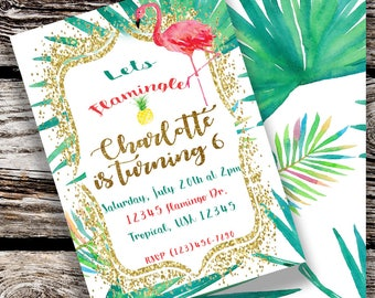 Digital Tropical Flamingo Party Invitation File