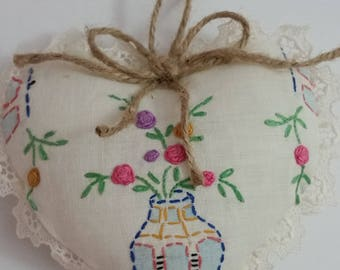 """Sweet Heart Shaped Ornament 6"""" Long, Made From A Vintage Doily."""