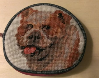 Bulldog Needlepoint Change Purse Coin Purse