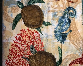 Sea Horse, Sea Turtles, Crabs, Fish and Coral on Cream Background, Aquarian Sea Life by Springs Creative, 100% Cotton