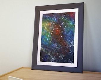 Space Galaxy Nebula Meteor Starshower - Shooting Stars - Original Acrylic Painting