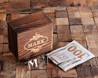 """Initial """" M """" Personalized Men's Classic Cuff Link & Money Clip with Wood Box Monogrammed Engraved Groomsmen, Best Man, Father's Day Gift"""