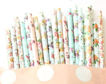 Floral paper straws-set of 25- garden party straws, tea party straws, flower straws, floral straws, vintage floral straws, wedding st