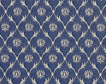 Navy Blue Floral Trellis Jacquard Woven Upholstery Fabric By The Yard   Pattern # B636