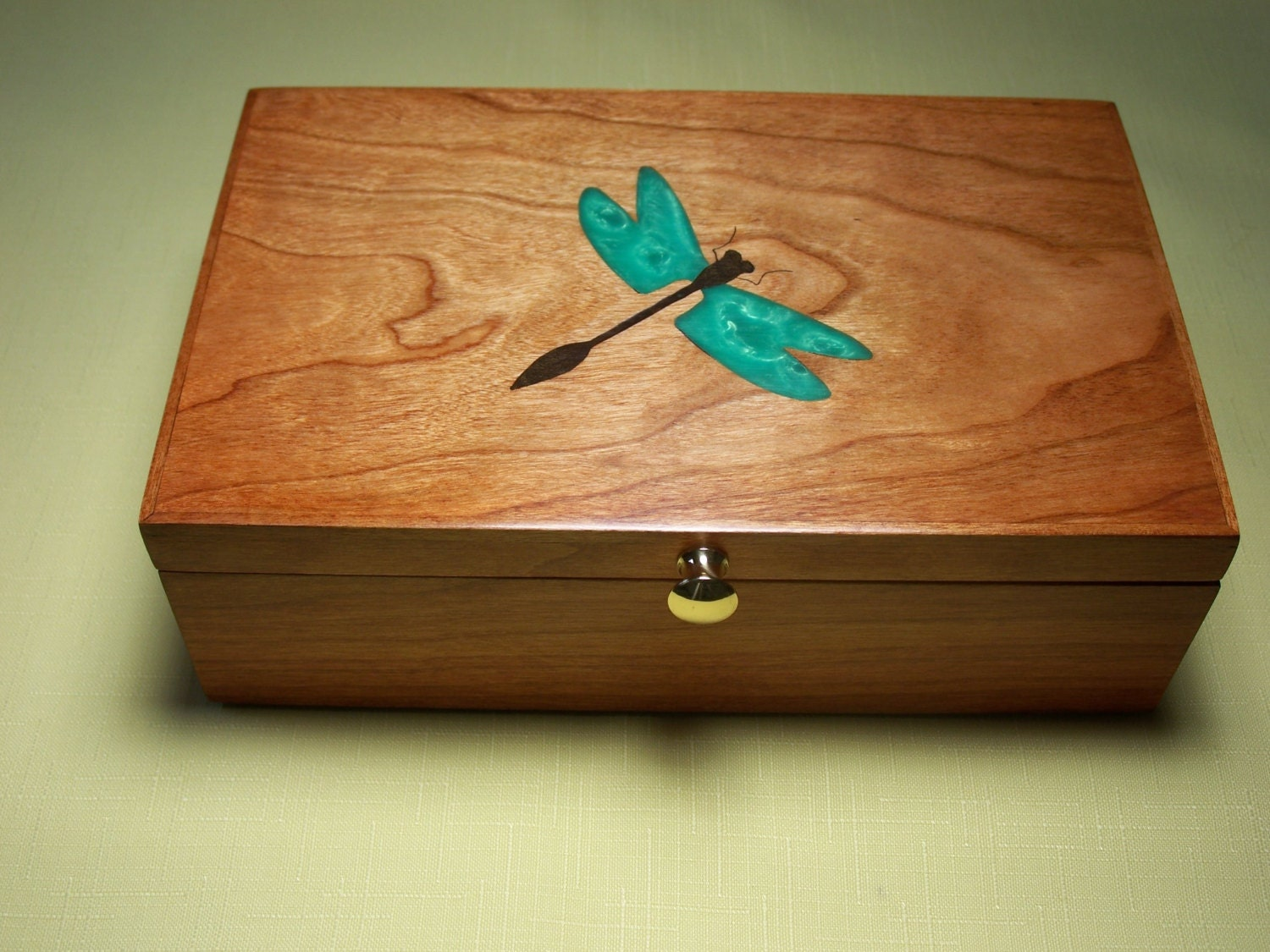 Box Dragonfly Inlay Cherry Wood Custom Item